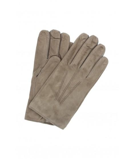 Guanto Pelle scamosciata fodera cashmere Fango Sermoneta Gloves
