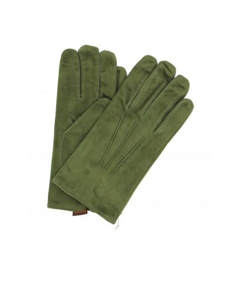 Suede Nappa leather gloves cashmere lined Dark Green Sermoneta