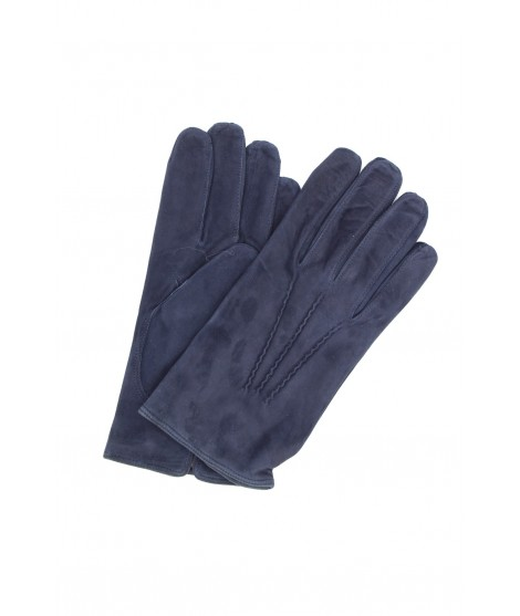 Suede Nappa leather gloves cashmere lined Navy Sermoneta Gloves