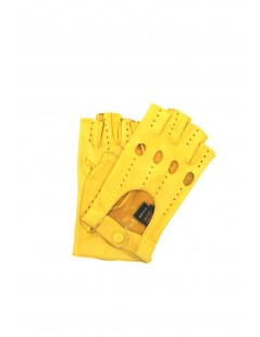 Driving gloves in Nappa Leather fingerless Ocra Yellow