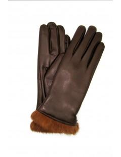 Nappa leather gloves 4bt Rabbir fur lined Mink Sermoneta Gloves