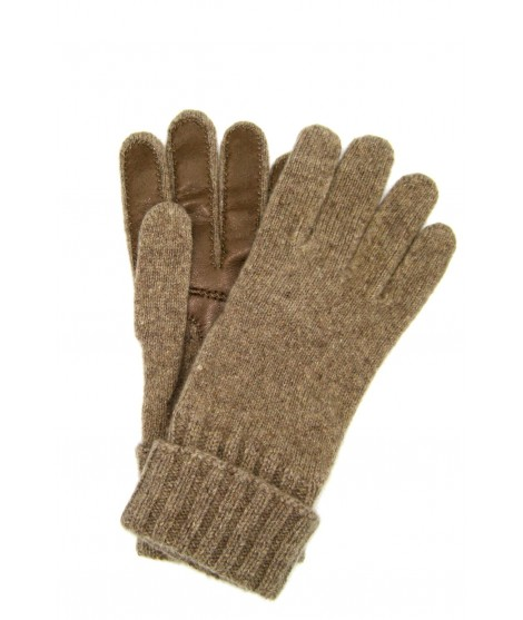 100%cashmere gloves 2bt with Nappa leather palm Taupe Sermoneta