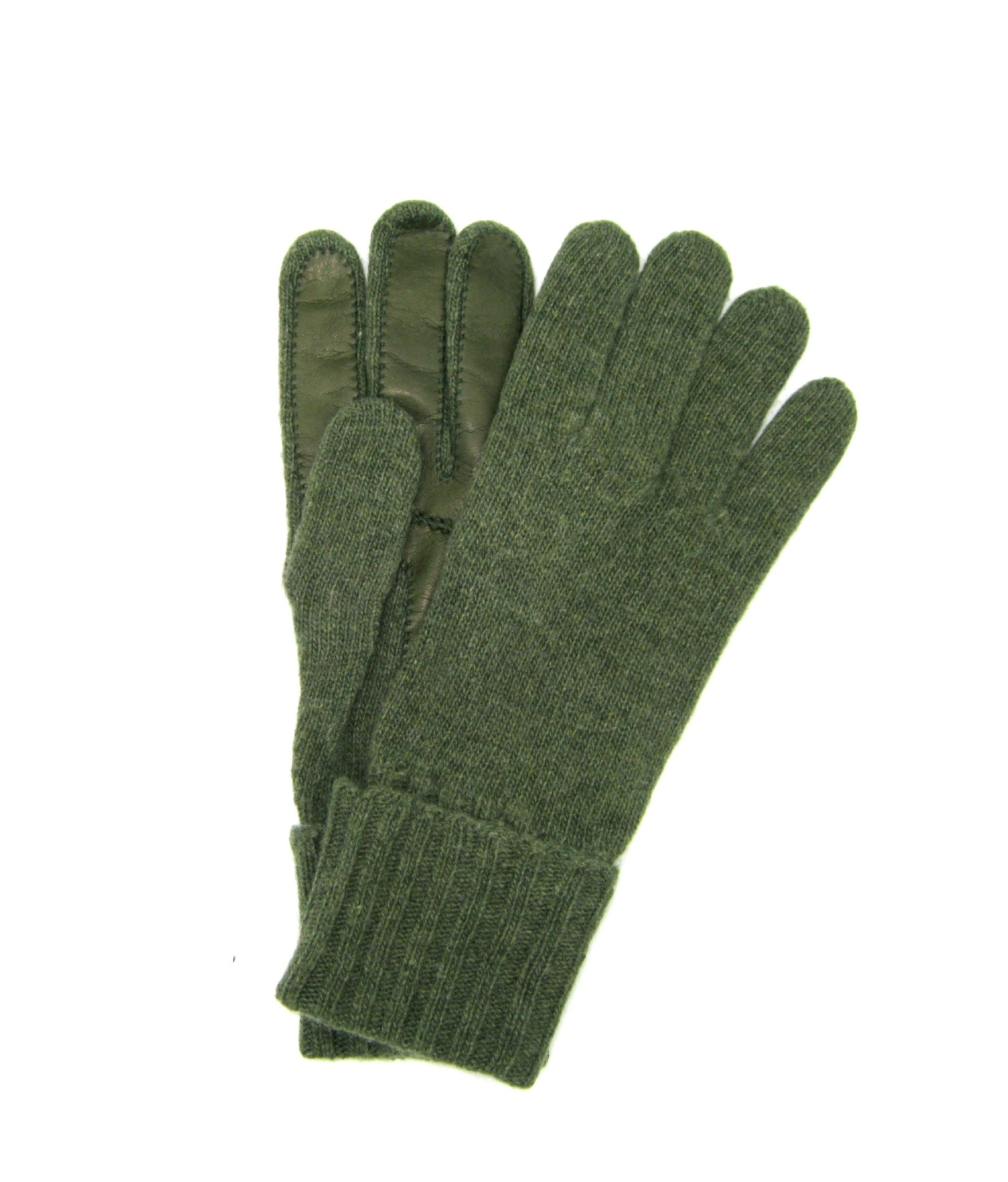 100%cashmere gloves 2bt with Nappa leather palm Olive Green