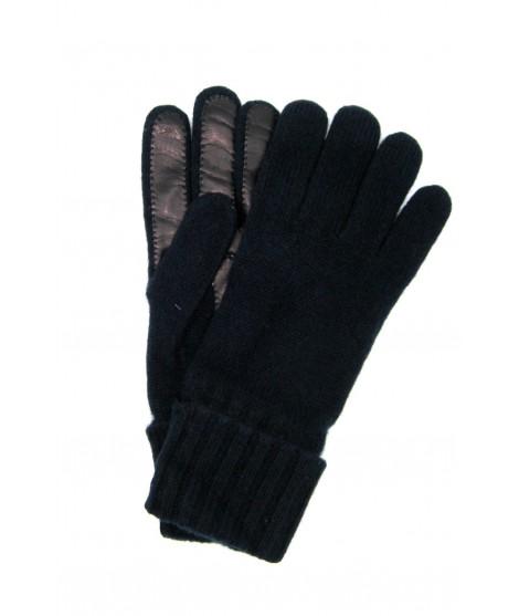 100%cashmere gloves 2bt with Nappa leather palm Navy Sermoneta
