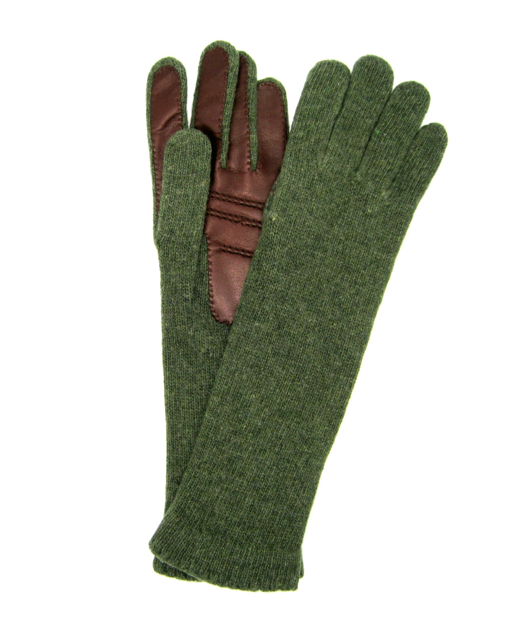100%cashmere gloves 4BT with Nappa leather palm Olive green/Tan