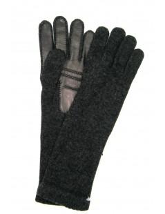 100%cashmere gloves 4BT with Nappa leather palm Dark Grey