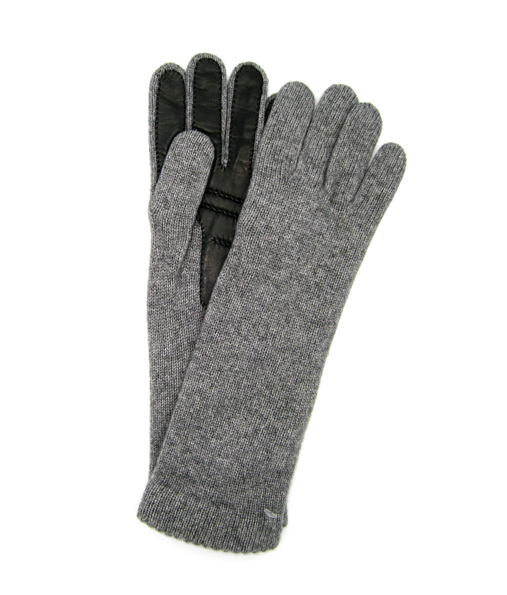 100%cashmere gloves 4BT with Nappa leather palm Light Grey