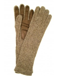 100%cashmere gloves 4BT with Nappa leather palm Taupe Sermoneta