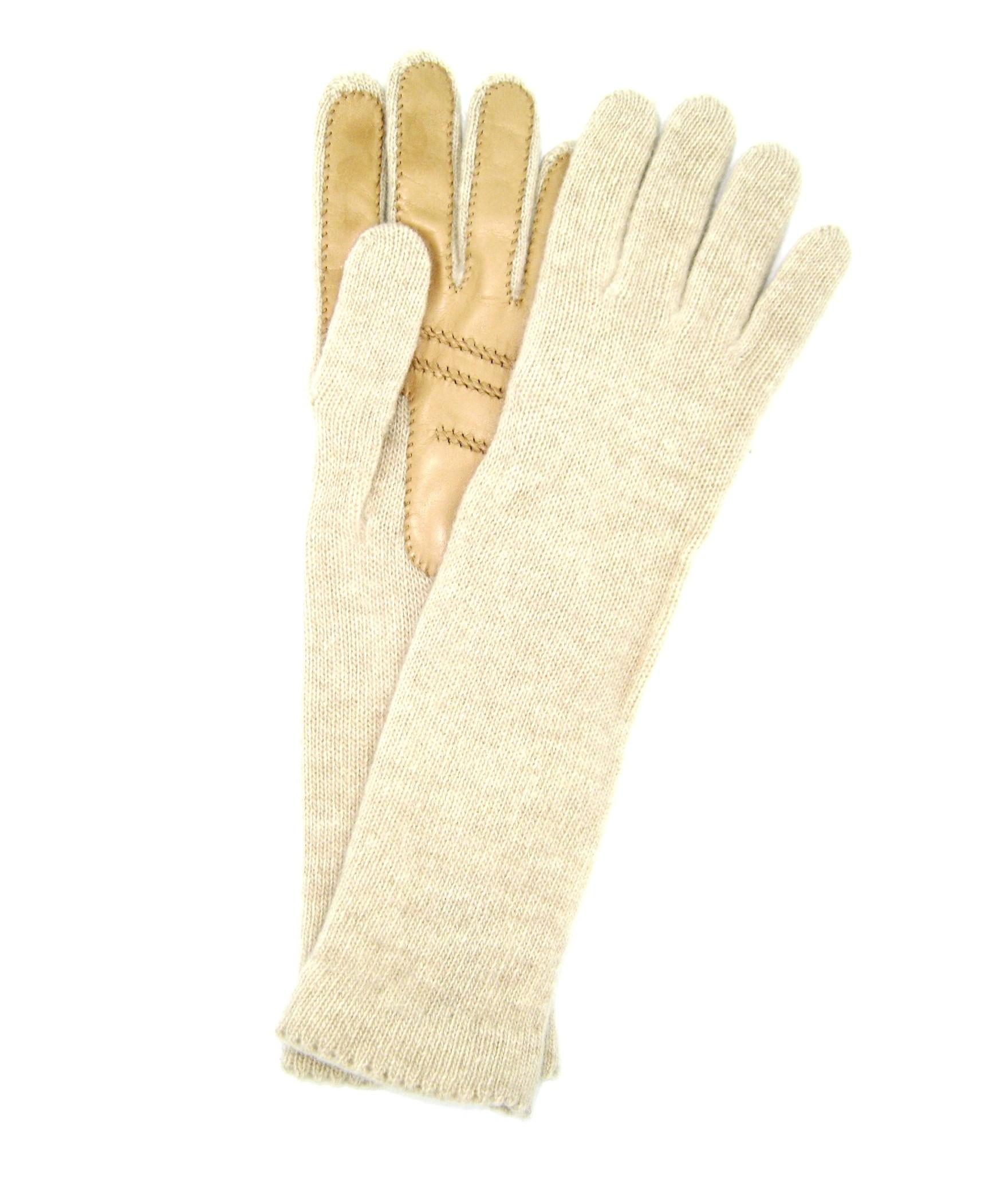 100%cashmere gloves 4BT with Nappa leather palm Cream Sermoneta