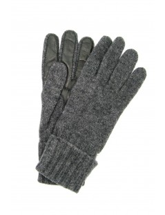 100%cashmere gloves 2bt with Nappa leather palm Grey Sermoneta
