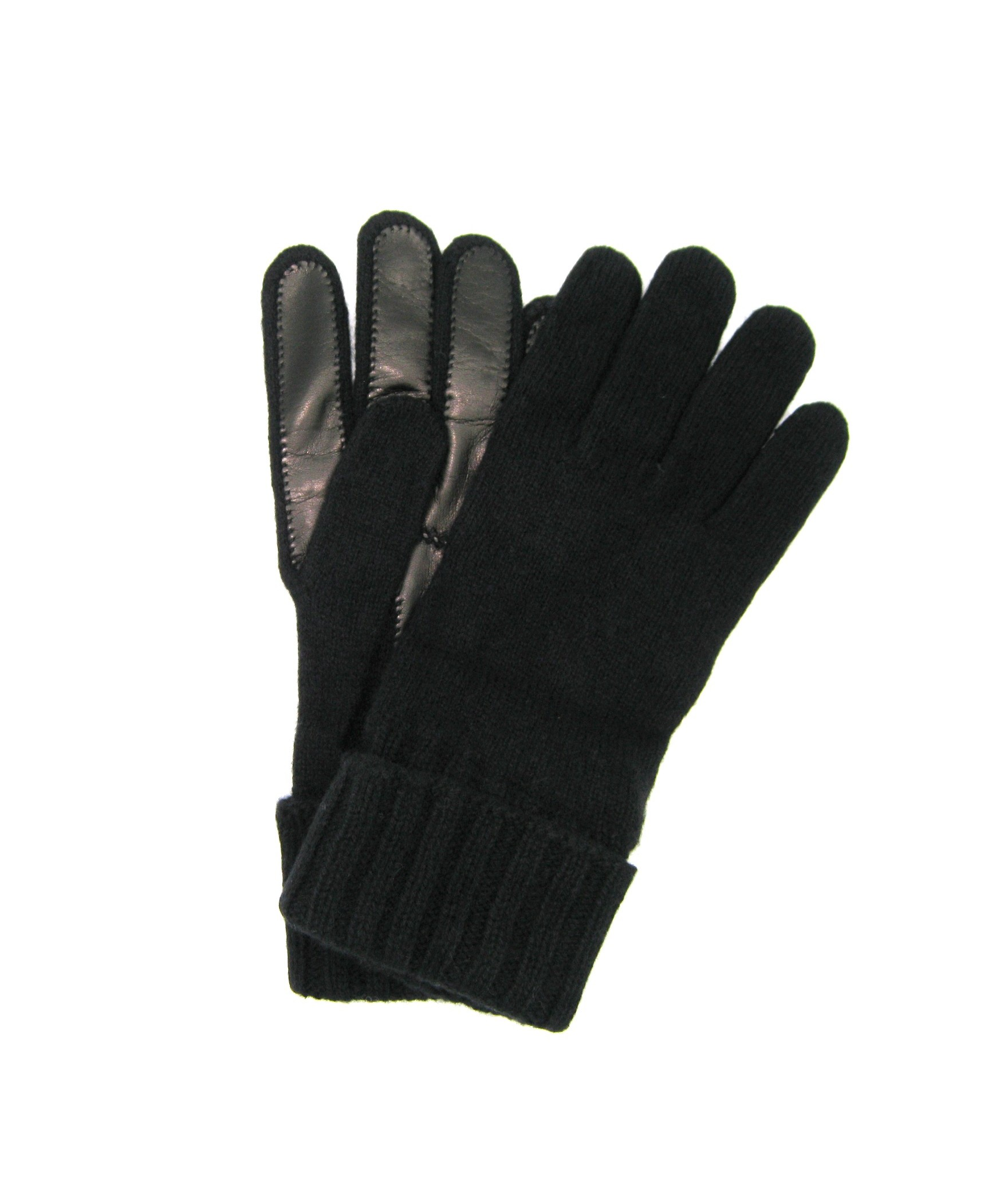 100%cashmere gloves 2bt with Nappa leather palm Black Sermoneta