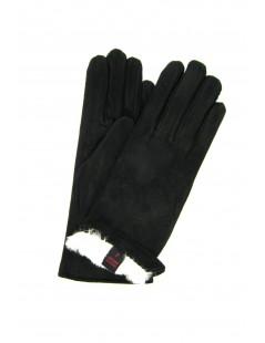 Suede Nappa leather gloves 2bt Rabbit fur lined Black Sermoneta