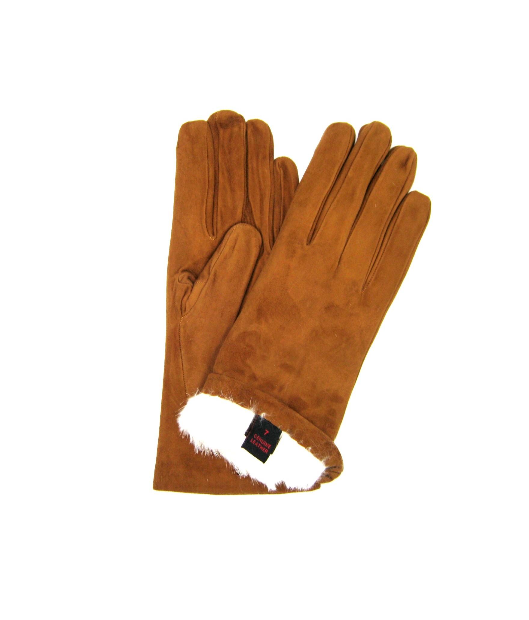 Suede Nappa leather gloves 2bt Rabbit fur lined Tan Sermoneta