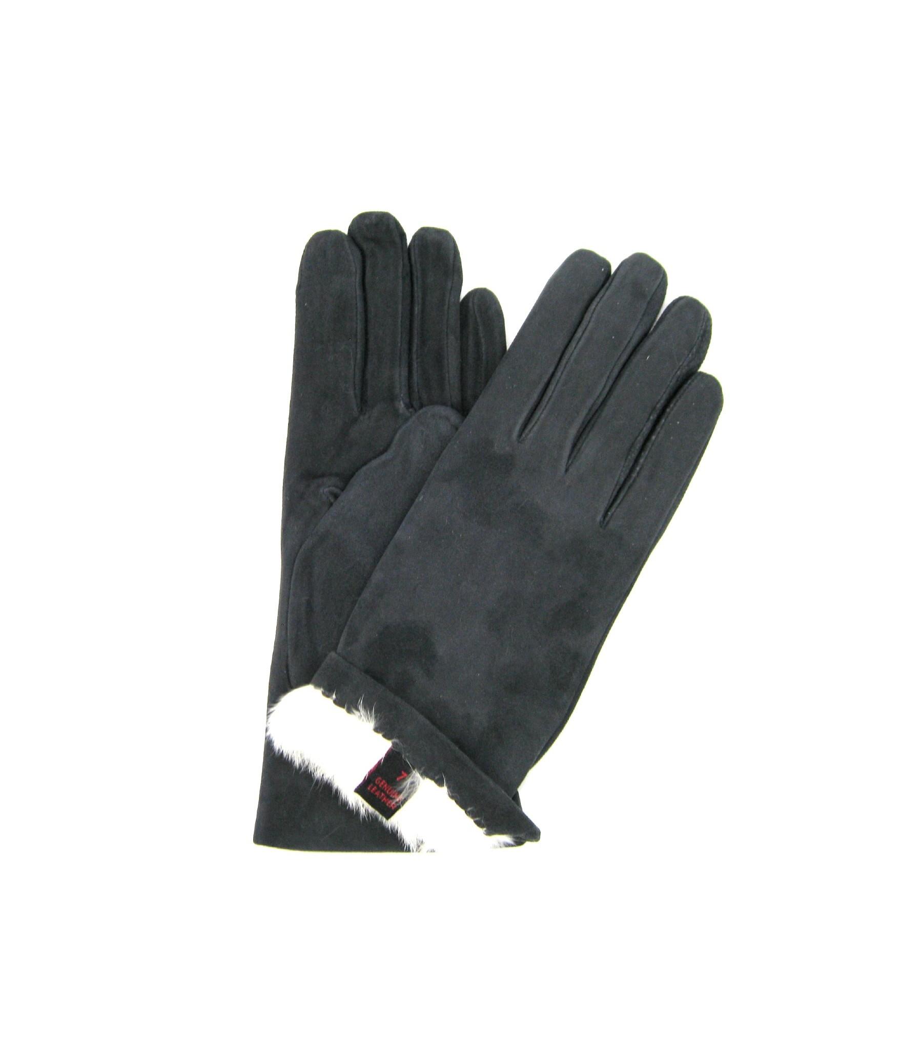 Suede Nappa leather gloves 2bt Rabbit fur lined Grey Sermoneta