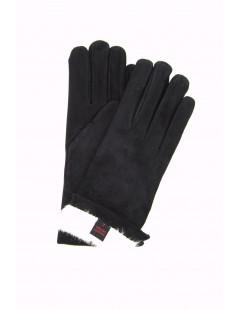 Suede Nappa leather gloves 2bt Rabbit fur lined Navy Sermoneta