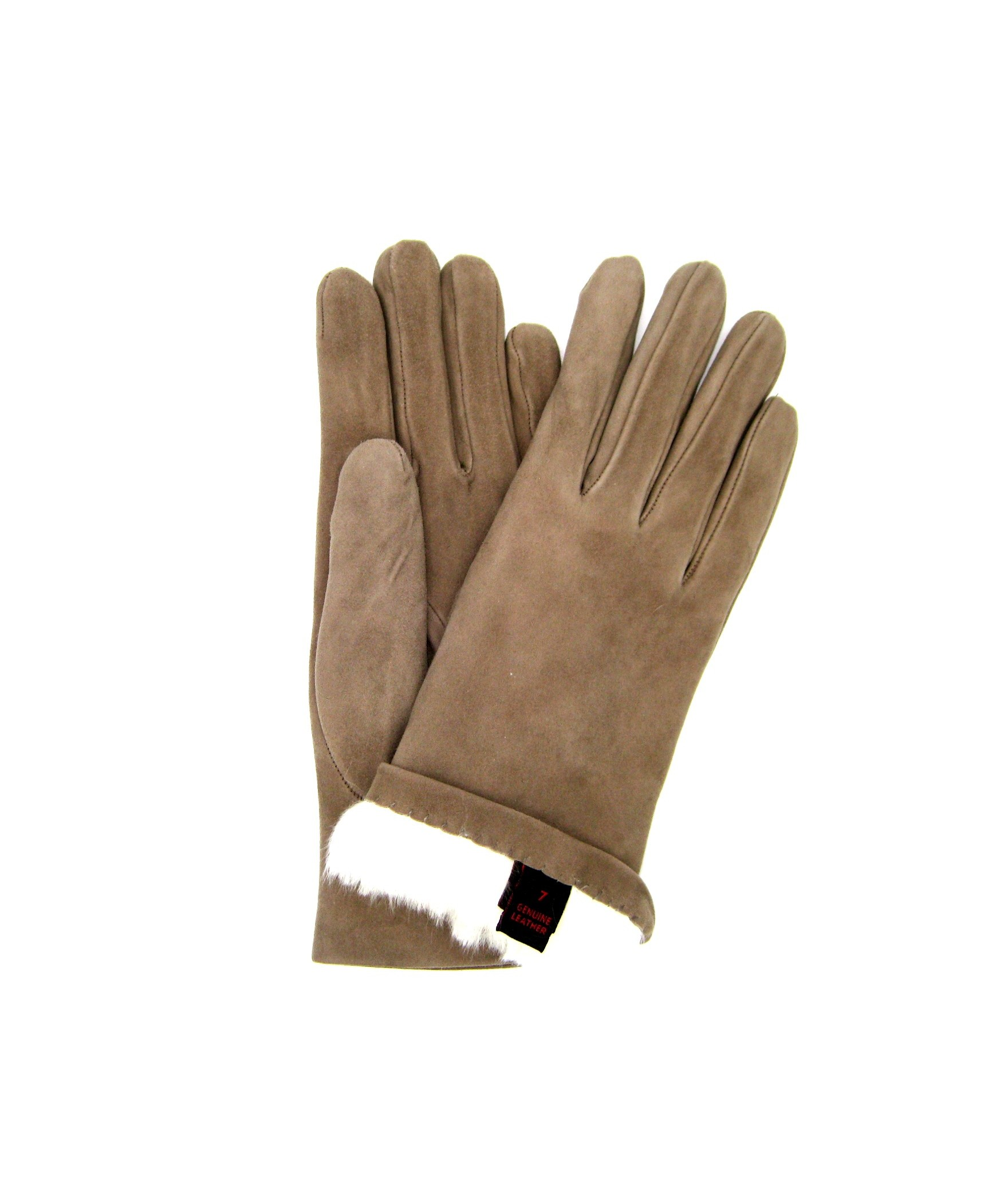 Suede Nappa leather gloves 2bt Rabbit fur lined Taupe Sermoneta