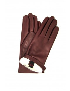Nappa leather gloves 2bt Rabbit fur lined Bordeaux Sermoneta