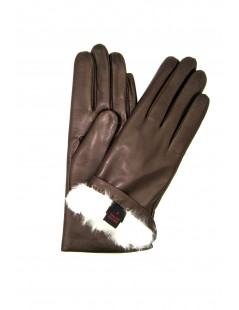 Nappa leather gloves 2bt Rabbit fur lined Mink Sermoneta Gloves