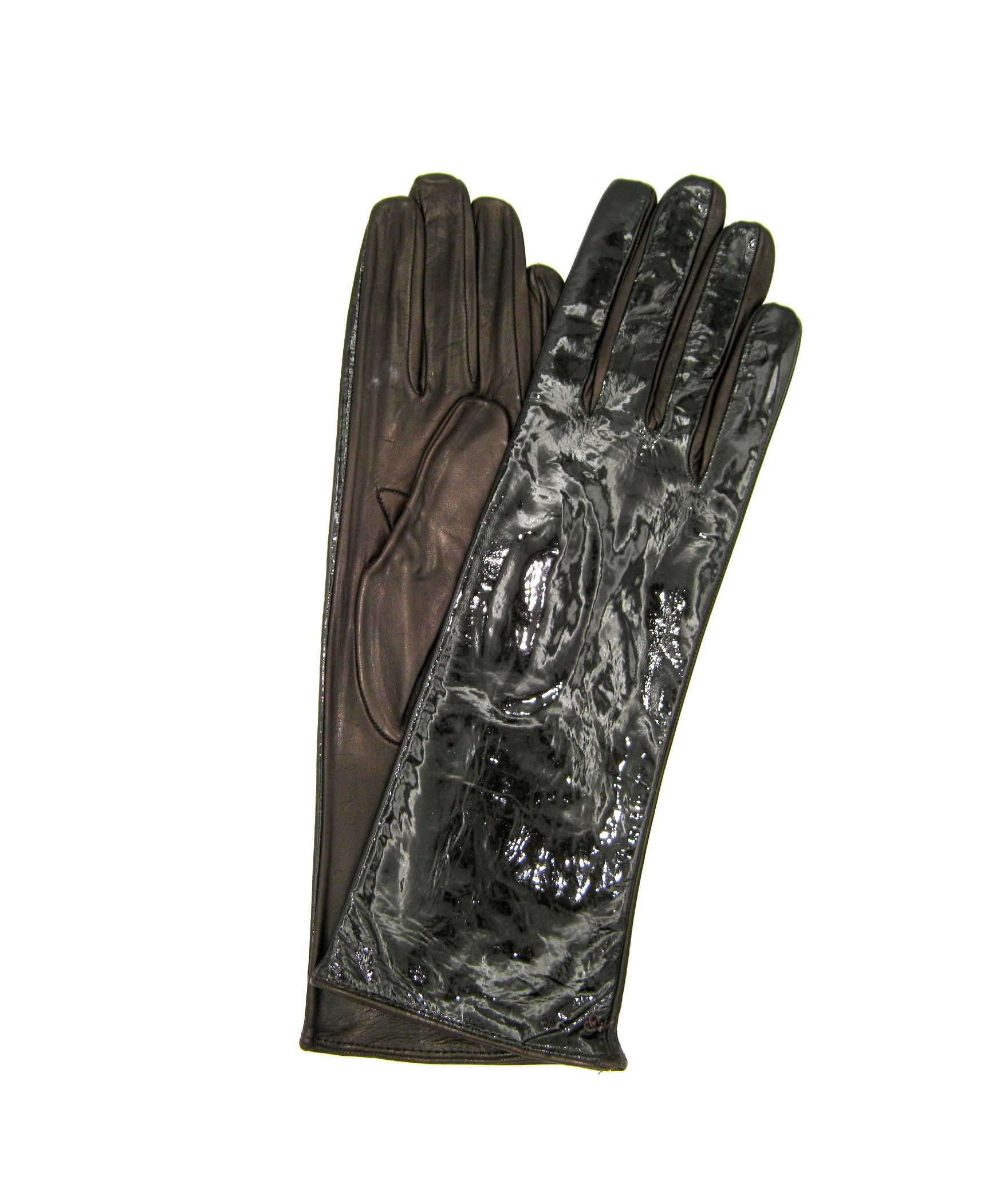 Patent Nappa leather gloves 4bt Silk lined Dark Brown Sermoneta