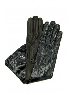 Patent Nappa leather gloves 8bt Silk lined Black Sermoneta