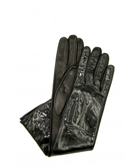Patent Nappa leather gloves 8bt Silk lined Dark Brown Sermoneta