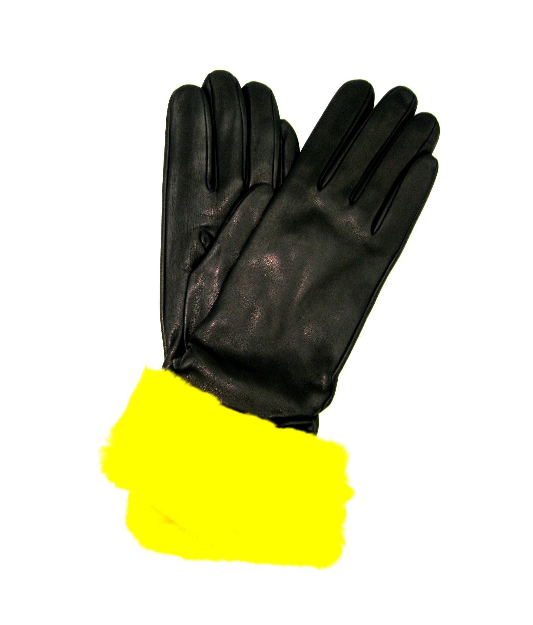 Nappa gloves cashmere lined 4bt with Rex fur Black/Yellow