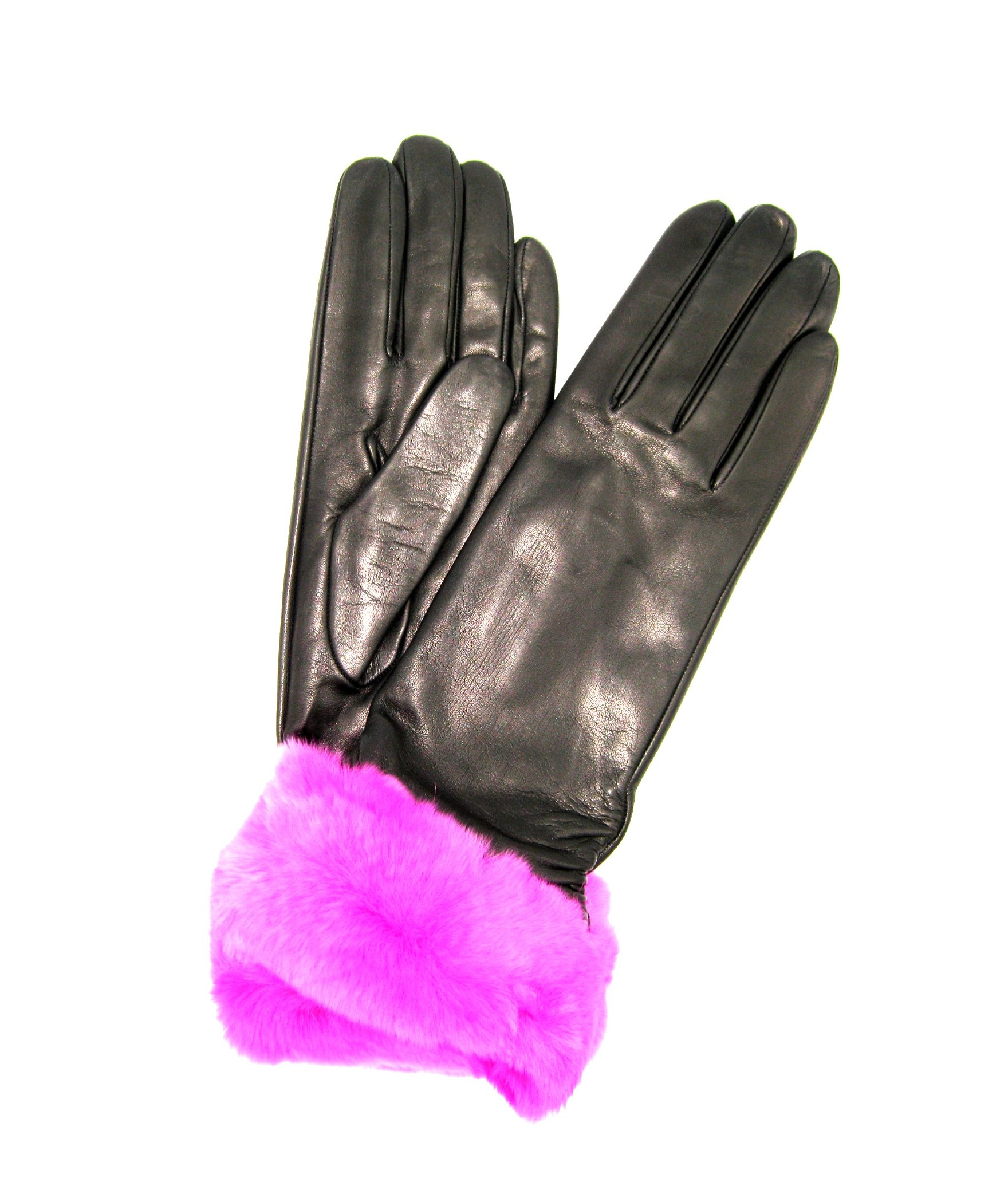 Nappa gloves cashmere lined 4bt with Rex fur Black/Fucsia