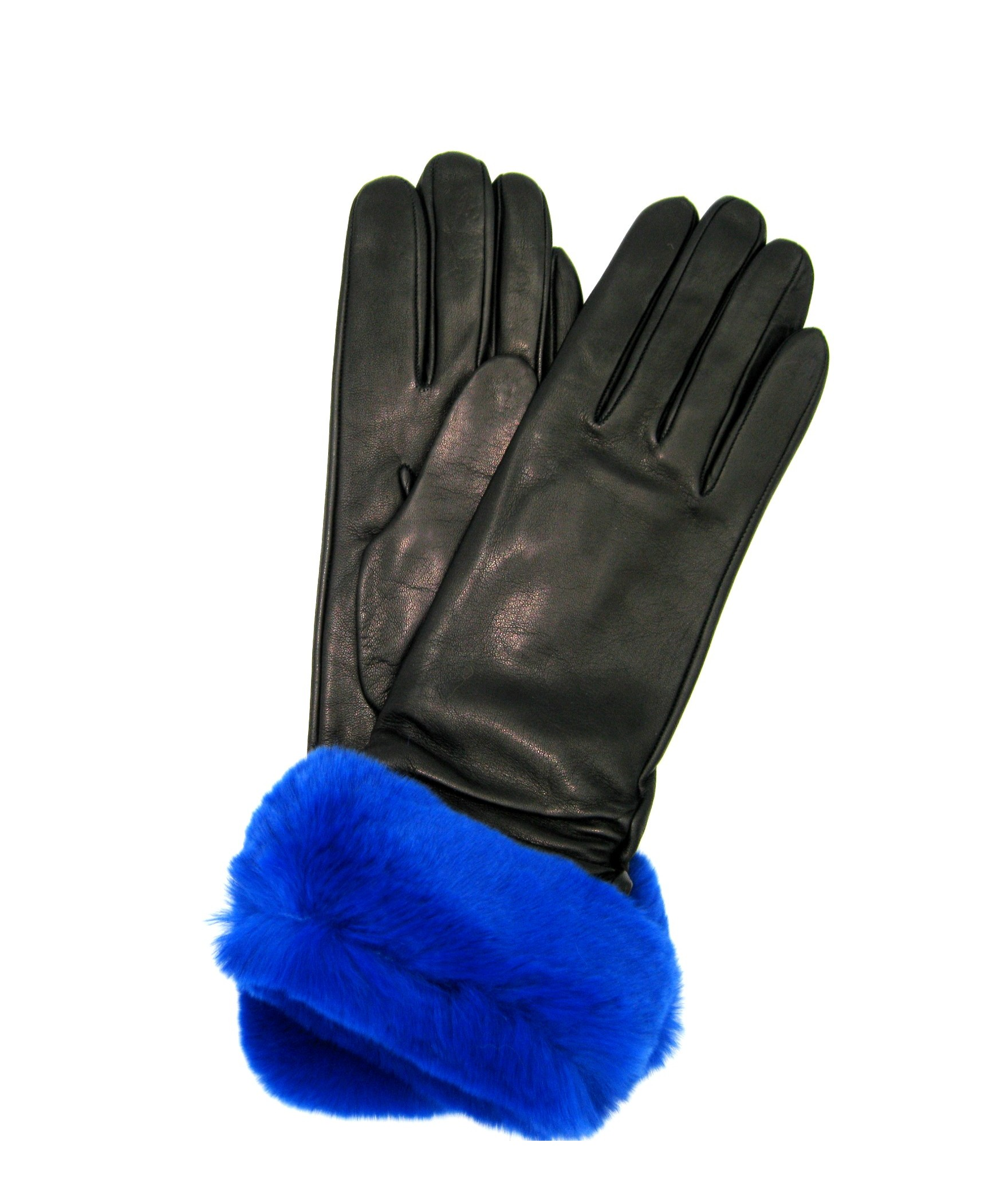 Nappa gloves cashmere lined 4bt with Rex fur Black/Royal