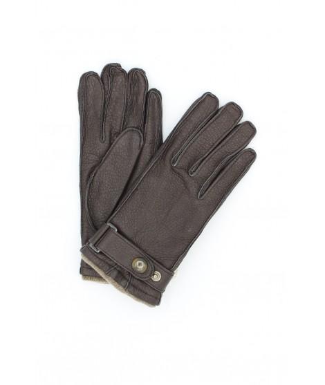 Deerskin gloves with strap Cashmere lined Dark Brown Sermoneta