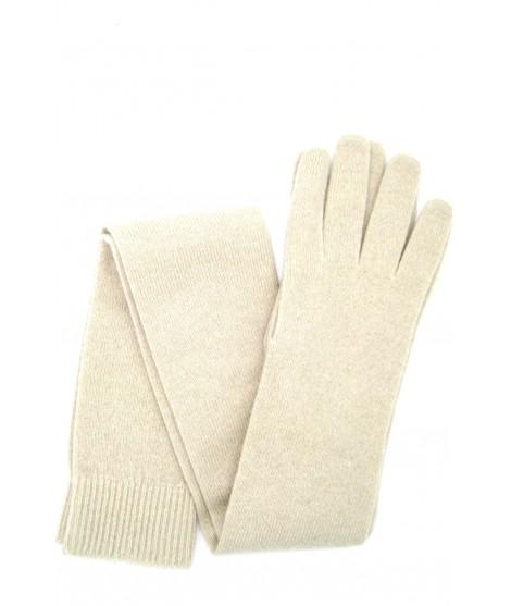 Guanto in 100% cashmere 16bt Panna Sermoneta Gloves Guanti in