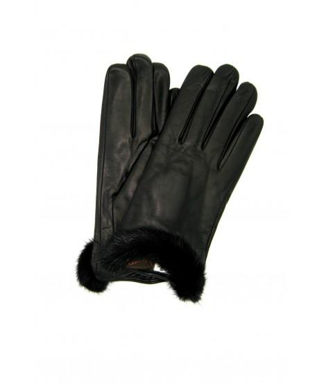 Guanto in Nappa fod cashmere bordo Visone Nero Sermoneta Gloves