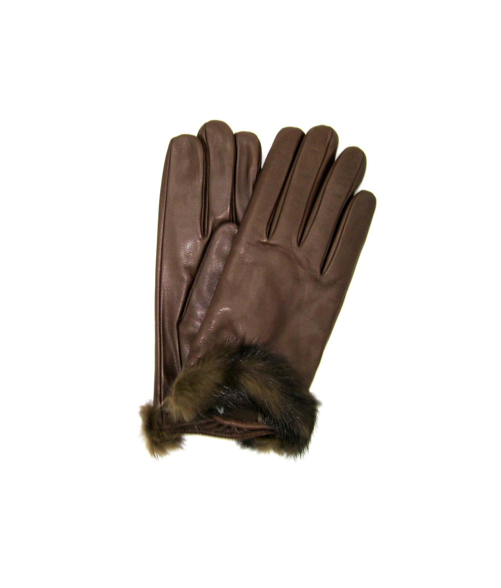Guanto in Nappa fod cashmere bordo Visone Mink Sermoneta Gloves