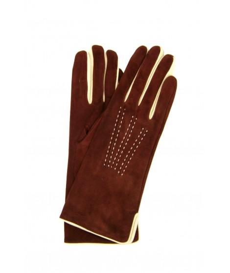 Suede Nappa gloves cashmere lined 4bt bicolor Cognac/Cream