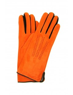 Suede Nappa gloves cashmere lined 4bt bicolor Orange/Dark Brown