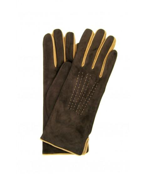 Suede Nappa gloves cashmere lined 4bt bicolor Dark Brown/Camel
