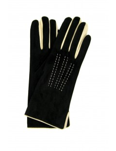 Suede Nappa gloves cashmere lined 4bt bicolor Black/Cream