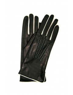 Nappa leather gloves 4bt cashmere lined bicolor Black/Cream
