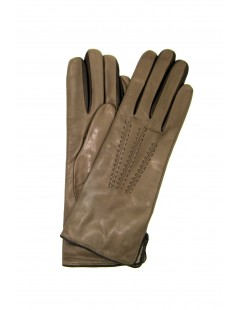 Nappa leather gloves 4bt cashmere lined bicolor Mud/Dark Brown