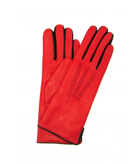 Nappa leather gloves 4bt cashmere lined bicolor Red/Black