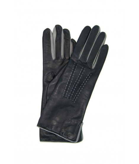 Nappa leather gloves 4bt cashmere lined bicolor Navy/Light Grey