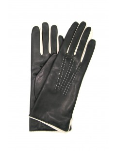 Nappa leather gloves 4bt cashmere lined bicolor Grey/Cream
