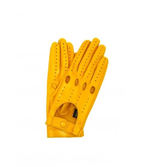 Driving gloves in Nappa Leather Ocra Yellow Sermoneta Gloves