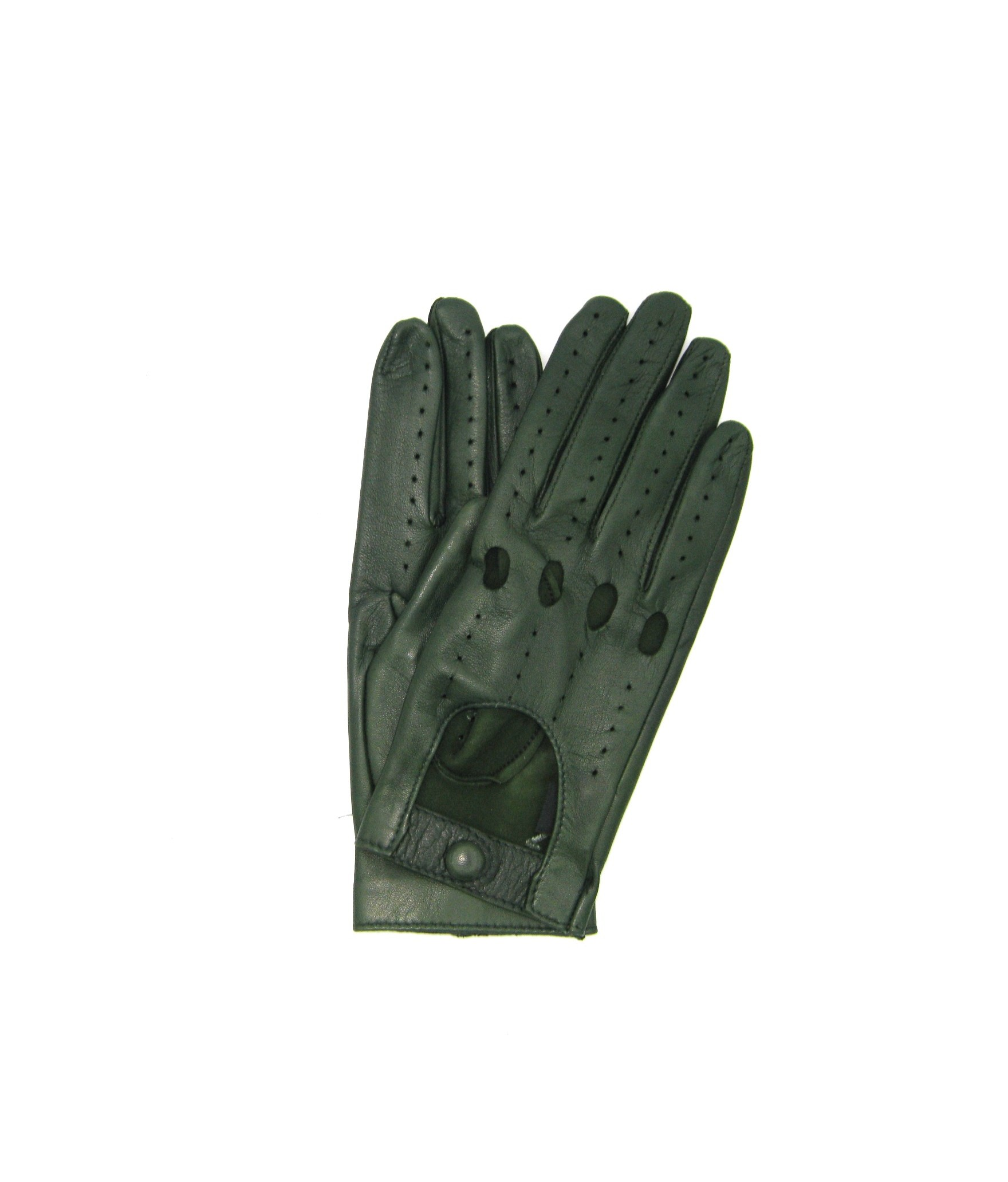 Driving gloves in Nappa Leather Olive green Sermoneta Gloves