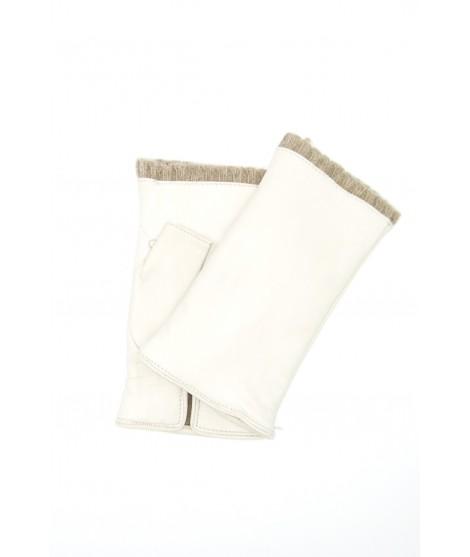 Half Mitten in Nappa leather cashmere lined Cream Sermoneta