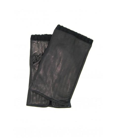 Half Mitten in Nappa leather cashmere lined Navy Sermoneta