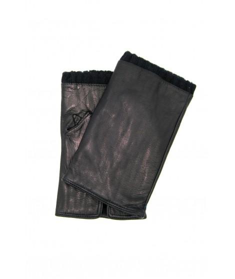 Half Mitten in Nappa leather cashmere lined Black Sermoneta
