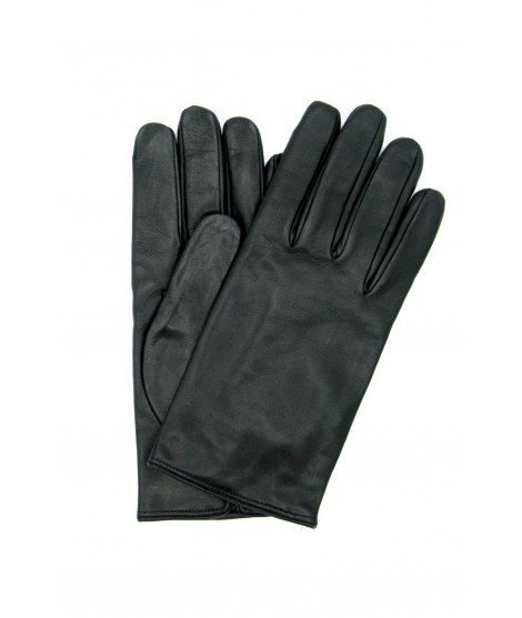 Nappa leather gloves no stitching cashmere lined Black