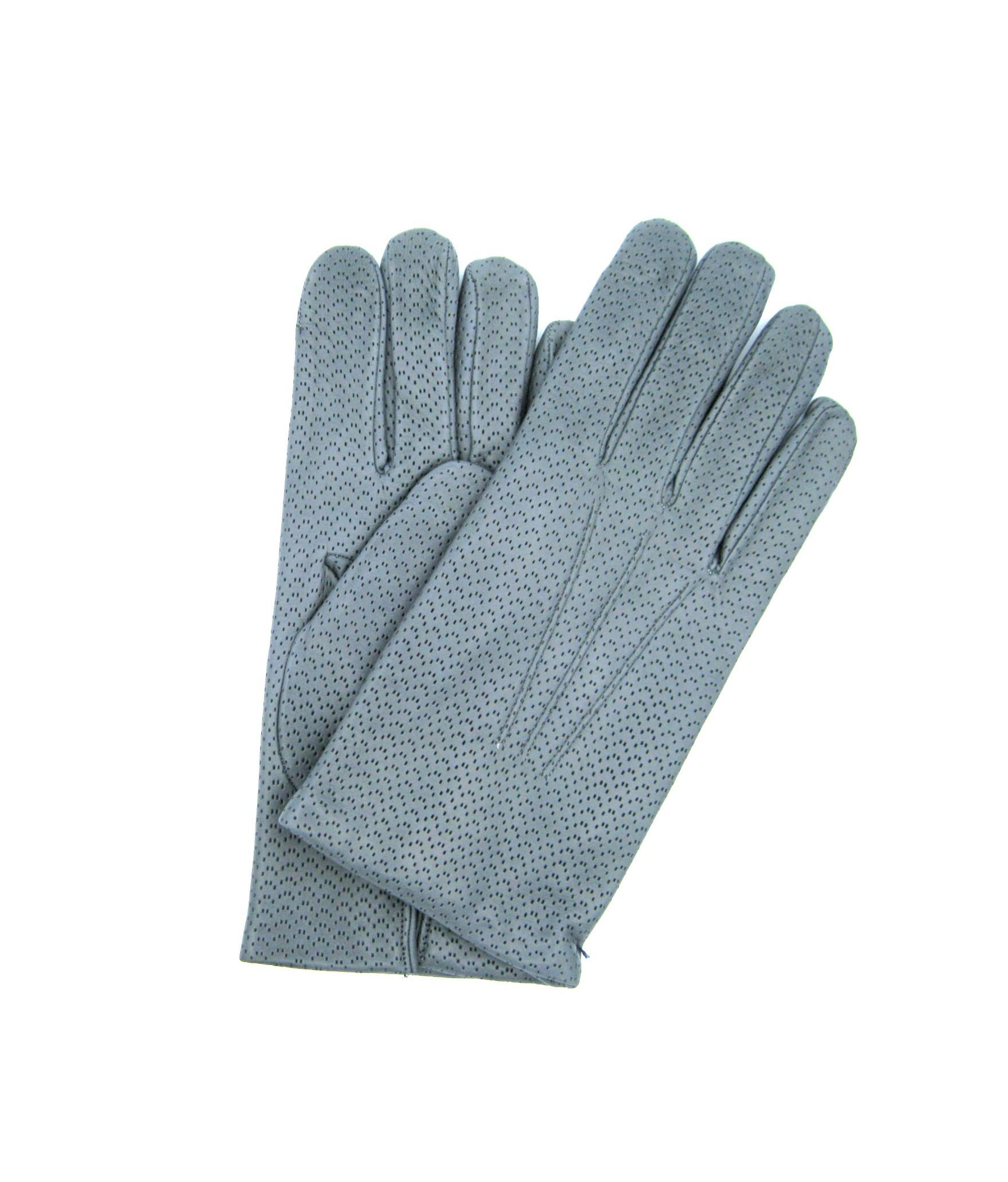 Nappa leather gloves 2bt,cashmere lined Grey Sermoneta Gloves