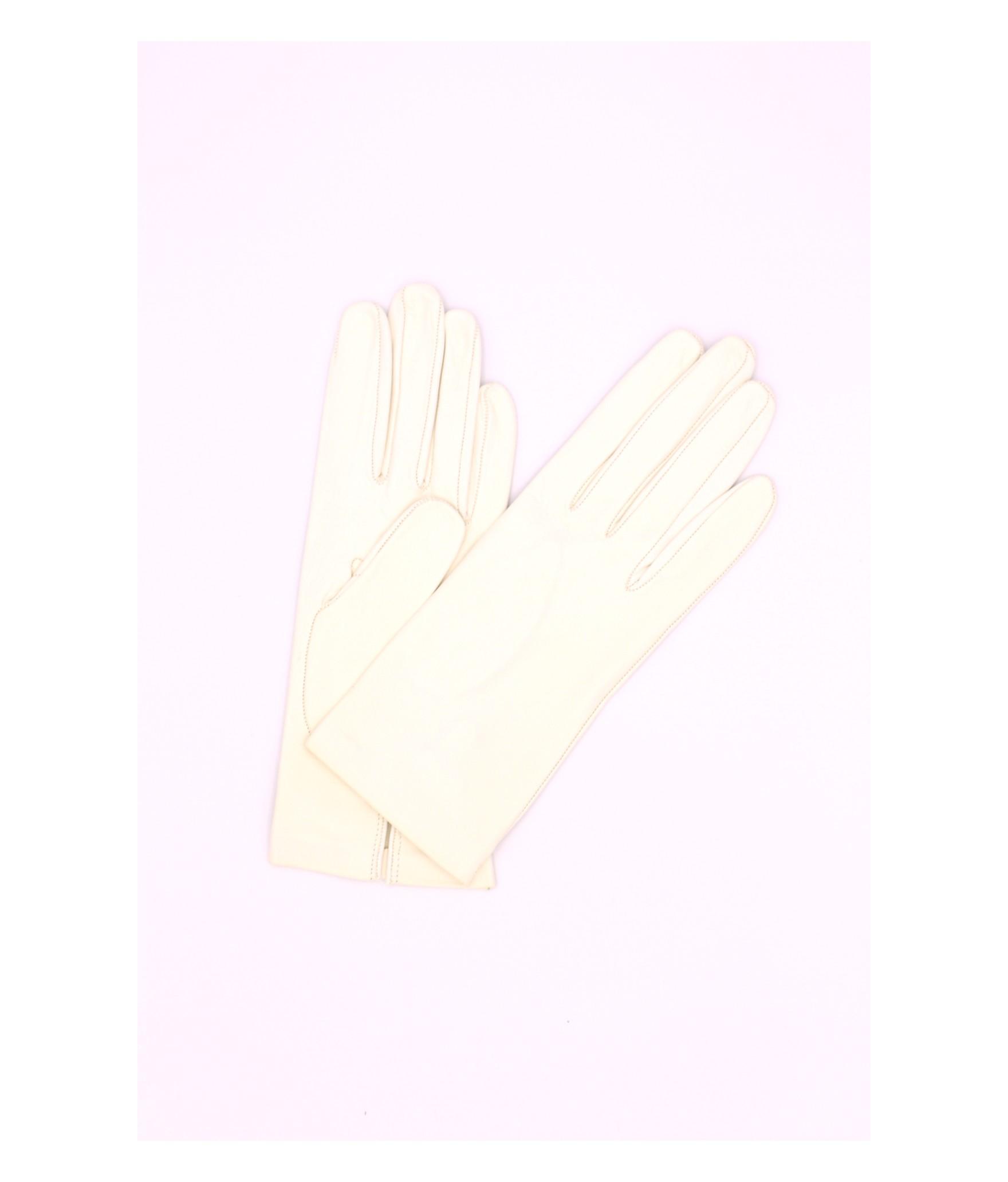 Nappa leather gloves Silk lined White Sermoneta Gloves Leather