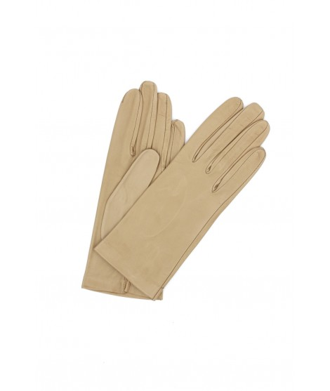 Nappa leather gloves Silk lined Beige/Taupe Sermoneta Gloves